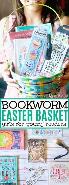 Make Easter extra special for your favorite bookworm with this Book Lover's Easter Basket — it's perfect for young readers and can be tailored to all ages! via Easter basket ideas Book Lover's Easter Basket Book Baskets, Easter Gift Baskets, Gifts For Bookworms, Gifts For Readers, Easter Gifts For Kids, Easter Crafts, Happy Easter, Book Lovers Gifts, Book Gifts