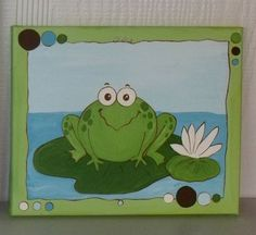 Canvas painted frog