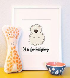 H is for Hedgehog woodland animal portrait nursery illustration 8x10. $10.00, via Etsy.