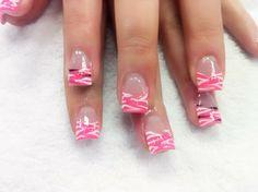 Pink & White Zebra Nail Art