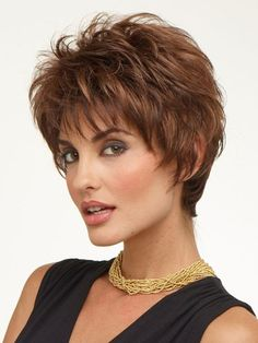 This is a spunky 100% remy human hair short wig with textured and exhibits layers offering a soft hugging neckline.Razored edges that frame the face give that deconstructed styling for today's style concious women.Lace front cap construction allows flexibility is styling so that you can add a little lift with your favorite styling products or comb it from side to side to suit your individual needs.