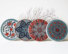 Set of decorative tile coasters with mandalas! Handmade by shopinIstanbul