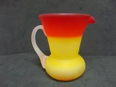 Pretty Kanawha Glass Matte Finish Satin Glass Amberina Cream Pitcher #2 by AGlassBoutique on Etsy