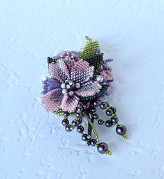 Bead embroidery brooch Beadwork jewelry pink flower brooch