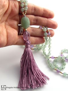The Light Green Aventurine and Amethyst MALA Necklace With Silk Tassel