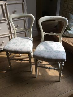 An elegant pair of bedroom chairs covered in a delicately patterned French Linen.  £425.00  @Susan Osbourne.  SOLD