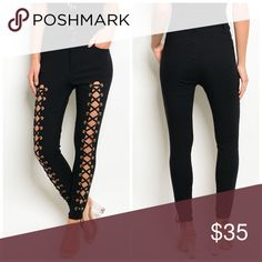 ARRIVED Black Lace high waisted stretch pants So on trend- comfy excellent stretch and recovery high waisted pants. Fit is true to size Pants Skinny