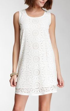 Blu Pepper Perforated Lace Shift Dress
