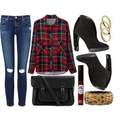 street style by sisaez on Polyvore featuring polyvore fashion style AG Adriano Goldschmied Burberry The Cambridge Satchel Company Chanel Kendra Scott TheBalm