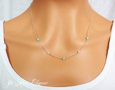 Elegant Swarovski pearl and turquoise by ZoeRiverElegance on Etsy, $17.50