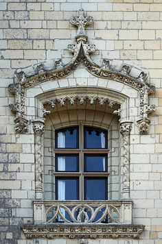 Elaborate window detail at the Chateau de Montreuil Bellay, Loire Valley, France