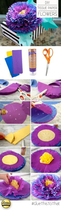 Make your own DIY Tissue paper flowers with @auntpeaches using Aleene's Tacky Glue!