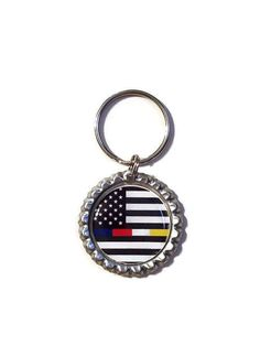 8f97a78aea3da American Flag Thin Blue Line  Thin Red Line Bottle Cap Keychain Show your  support for