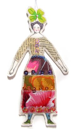 Cloth Art Doll Ornament Textile Art Doll Fabric by theresahutnick