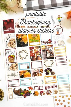 Printable Thanksgiving Planner Stickers - Education and lifestyle Free Planner, Happy Planner, Planner Ideas, Planner Organisation, Thanksgiving Crafts, Thanksgiving Decorations, Fall Crafts, Printable Planner Stickers, Free Printables