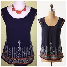 Anthro navy top size XS This top is brand-new with tags. It's a dark navy and has gorgeous embroidering along the shoulders and the bottom of the top Anthropologie Tops Tees - Short Sleeve