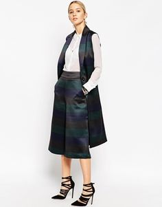 ASOS WHITE Sleeveless Jacket in Bonded Stripe Satin