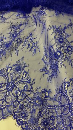 Royal Blue lace fabric by the yard French Lace by LaceToLove