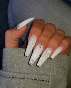 If you have problem with long nails, then try Acrylic Nails or artificial nails. Listed below are the Best Acrylic Nails Ideas for 2019 to take inspiration. White Coffin Nails, Bling Acrylic Nails, Acrylic Nails Coffin Short, Best Acrylic Nails, White Acrylic Nails With Glitter, Bling Nails, Long White Nails, White Acrylics, Rhinestone Nails