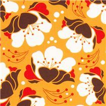 orange Gardenia flower fabric by Michael Miller USA - Flower Fabric - Fabric