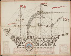 """Djimah in the form of a warship with the names of the """"Seven Sleepers of Ephesus"""" signed 'Abdul Wahid ibn al-Haji Muhammad Tahir (Cangking, West Sumatra, Indonesia, July 6, 1866), colored inks on paper backed on cloth (© Bodleian Libraries, University of Oxford)  Power and Protection: Islamic Art and the Supernatural continues at the Ashmolean Museum of Art and Archaeology (Beaumont Street, Oxfordm England) at the University of Oxford through January 15, 2017."""
