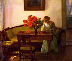Interior with Red Poppies - Anna Ancher 1905  Impressionism  Skagens Museum Denmark