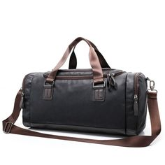 PU Leather Mens Travel Luggage Sports Gym Bag Weekend Duffel Bag BLACK     See this e3634bde1f19c