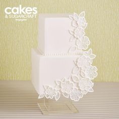 White decoupage lace cake tutorial with Flexi-Ice edible lace and royal icing by Ceri DD Griffiths for the Summer 2015 issue of Cakes & Sugarcraft magazine