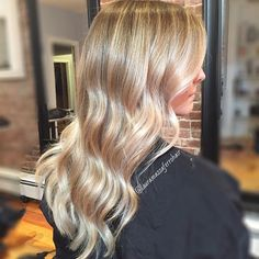 Honey-Blonde and Pearl-Blonde Balayage for Long Wavy Hair