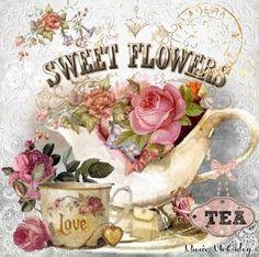 Home sweet hom illustration tea time ideas Decoupage Vintage, Vintage Diy, Images Vintage, Vintage Labels, Vintage Ephemera, Vintage Pictures, Vintage Cards, Vintage Paper, Vintage Postcards
