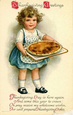Adorable 1920s Thanksgiving Postcard by Wolf Clapsaddle viadatedpaper
