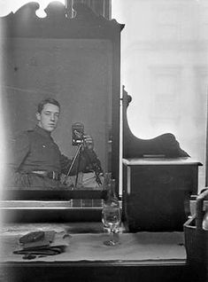 A Mirror Self-Portrait Captured in 1917 by an Australian flying ace Thomas Baker is the oldest mirror selfie