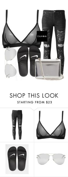 """""""Untitled #1488"""" by elinaxblack ❤ liked on Polyvore featuring Hood by Air, Wolford, NIKE, Yves Saint Laurent and Rochas"""