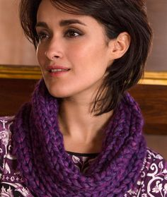 Purple Passion Cowl Free Knitting Pattern in Red Heart Yarns - You'll love how light in weight this yarn is while still being a quick-to-knit Jumbo size.