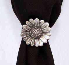 Joyci Vintage Retro 3 Set Scarf Ring Buckle Diamante Metallic Turquoise Slide Tube Flower Three-Ring DIY Silk Scarves Clip