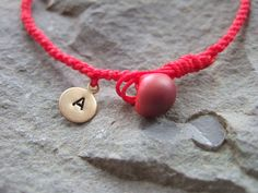 Waxed Cord Knotted Bracelet with Letter Initial Tiny Brass Tag, Dainty Friendship Bracelet  I could make this.