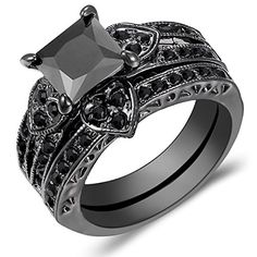 Jewelry Womens Heart Shaped Black Square Diamond Black Gold Wedding Rings Set Size 5-11 (11)by carfeny