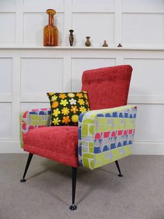 Stylish Vintage Retro French Pierre Guariche Reupholstered armchair 50s 60s chic