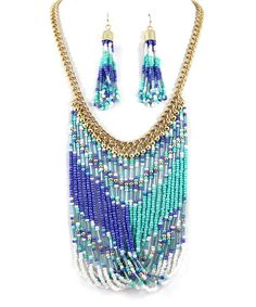 Love this Gold & Blue Bead Twist Bib Necklace & Earrings on #zulily! #zulilyfinds