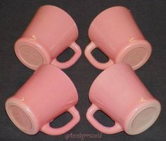 "4 Rare Fire-King Pink ""Thick"" D-Handle Mugs ~ Excellent To Near Mint ~ www.rubylane.com/"