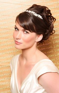 Wedding Hairstyles for Medium Hair 2012-I really like the headband/tiara thing