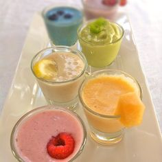 Smoothie Sampler- I will have this at my next Arbonne tasting party! Contact me to book your tasting party!----- Ashley Mayer: Arbonne ID# 14703103 Easy Smoothie Recipes, Easy Smoothies, Smoothie Drinks, Fruit Smoothies, Healthy Recipes, Arbonne Shake Recipes, Arbonne Protein Shakes, Rainbow Smoothies, Rainbow Fruit