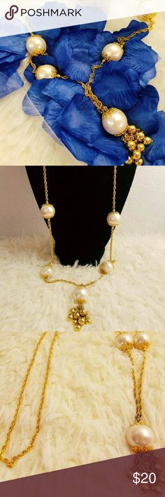 """Vintage gold chunky pearl necklace Gold toned braided vintage chunky pearl necklace with gold beaded tassels. Measurements: total length with tassels 17.5"""" Vintage Jewelry Necklaces"""