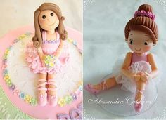 ballerina cake toppers by Party Cakes by Samantha via Flickr left and by Alessandra Caldeira right