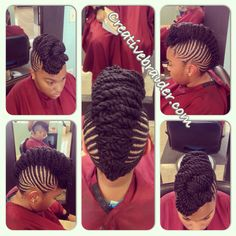 My work #braids #protectivestyles #protectivehairstyles #naturalhair #teamnatural #Mohawk #twist #pinup #design #cornrows #updo #orlando #braider #hair
