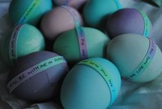 DIY Easter Eggs ... eggs with messages, using up extra dye ... http://thoughtsandbirosketches.blogspot.com/2011/04/diy-easter-eggs.html#