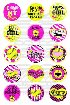 Softball Diva Bottle Cap Images Digital Printable by OhSoFabulous Softball Party, Softball Crafts, Softball Players, Girls Softball, Fastpitch Softball, Softball Stuff, Bottle Cap Projects, Bottle Cap Crafts, Bottle Cap Art