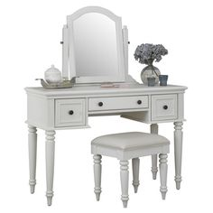 Features:  -Brushed antiqued brass hardware.  -Beveled glass tilt mirror and black vinyl cushioned seat.  -Drawers are equipped with easy-glide side mounted metal guides.  Product Type: -Vanity set.