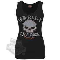 Harley-Davidson® Womens Metal Gates Willie G Skull with Rhinestones Black Sleeveless Tank