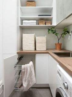Who says that having a small laundry room is a bad thing? These smart small laundry room design ideas will prove them wrong. Grey Laundry Rooms, Laundry In Bathroom, Laundry Area, Laundry Basket, Laundry Room Inspiration, Laundry Room Design, Küchen Design, Design Ideas, Free Design